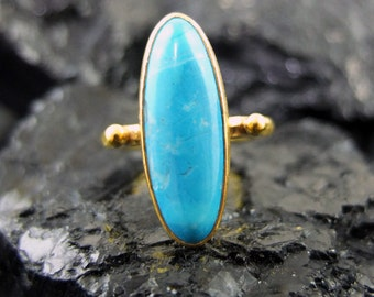 925K Sterling Silver Handmade Gold Vermeil Turquoise Ring