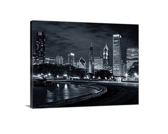 Chicago skyline canvas print - Cityscape art Chicago wall decor gallery wrap - black and white Chicago art - canvas print Chicago