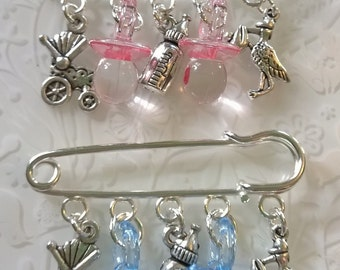 Twin kilt pin brooches~twin girl~twin boy~baby shower~christening gift~godmother gift