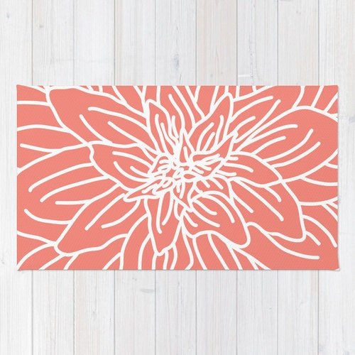 Coral Abstract Flower Area Rug Modern Flower Rug Coral And
