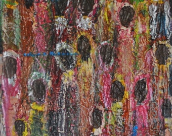 Tribal Gathering: Original Textural Acrylic Painting on Canvas in Golds, Corals, Bronze, Brown, Yellows and Pinks, African Art