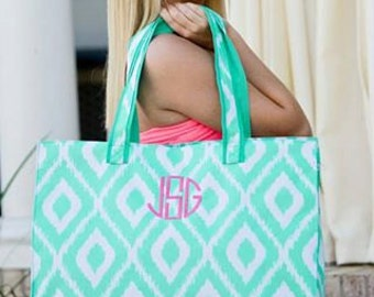 Aqua Ikat Beach Bag