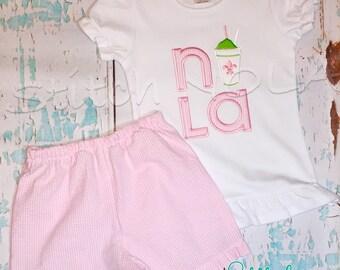 NOLA Snowball Girl Shirt and Shorts Set
