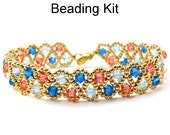Beaded Kit Crystal Bracelet Pink Gold Blue Easy Jewelry Kit Crystals Beadweaving Stitch Beautiful PDF Bead Pattern Tutorial #6830