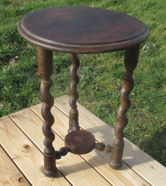 Antique Carved Dark Oak Barley Twist Pedestal Table Plant