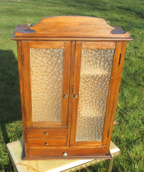 Antique Wood Apothecary Bathroom Medicine Wall Cabinet Bubbled