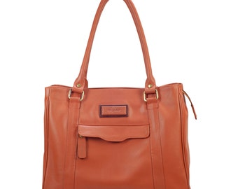 Tan Leather Tote Bag, Women Leather Tote Bag, Soft Leather Purse, Womens shoulder bag, Leather tote, FREE SHIPPING. ANDJANIE bag