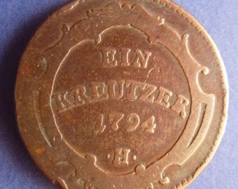 Old Austrian One Kreuzer Coin Dated 1794. An Original Circulated Coin In Collectable Condition.