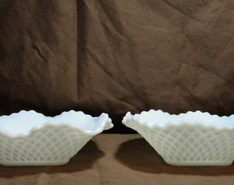 Milk Glass Nut or Candy Dish, Set of Two, Diamond pattern, 1950's
