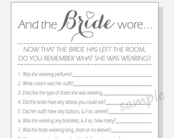DIY And the Bride wore... Printable Cards - Bridal Shower Game - Calligraphy Design - clear, red, purple or pink heart