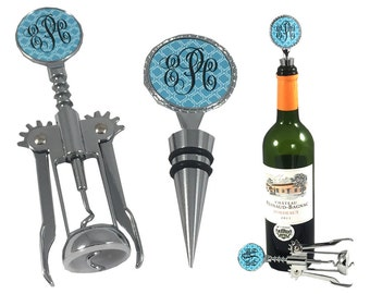 Wine Stopper Wine Opener Monogrammed Set Wedding Gift Personalized Wine Bottle Stopper Monogrammed Gifts