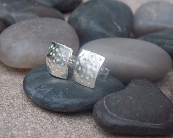 Unusual Sterling silver square post earrings with a dotty design