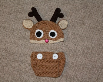 Crochet Reindeer Hat and Diaper Cover Gift Set