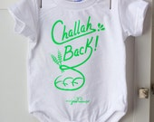 Challah Back Jewish Baby Onesie- Neon Green and White