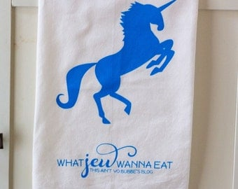 Unicorn Tea Towel/Challah Cover- Bright Blue/Turquoise and White