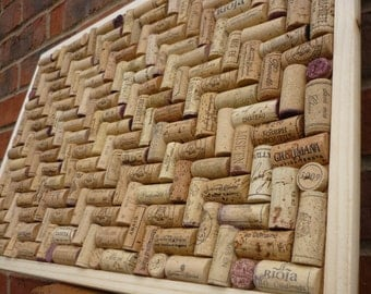 "Cork Notice / Pin / memo Board hand-crafted from re-cycled Wine Corks in a Herringbone layout - large size 24"" x 18"" (60 x 45cm )"