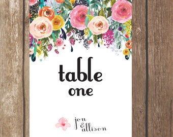 Printable Table Number Signs, Poppy Wedding Theme