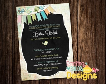 Baby Shower Invitation, Baby Bird Invitation, Baby Shower, Print on your own, Print Options Available, (Digital File) 5x7
