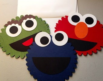 Sesame Street Cards Set: Elmo, Cookie Monster,Oscar