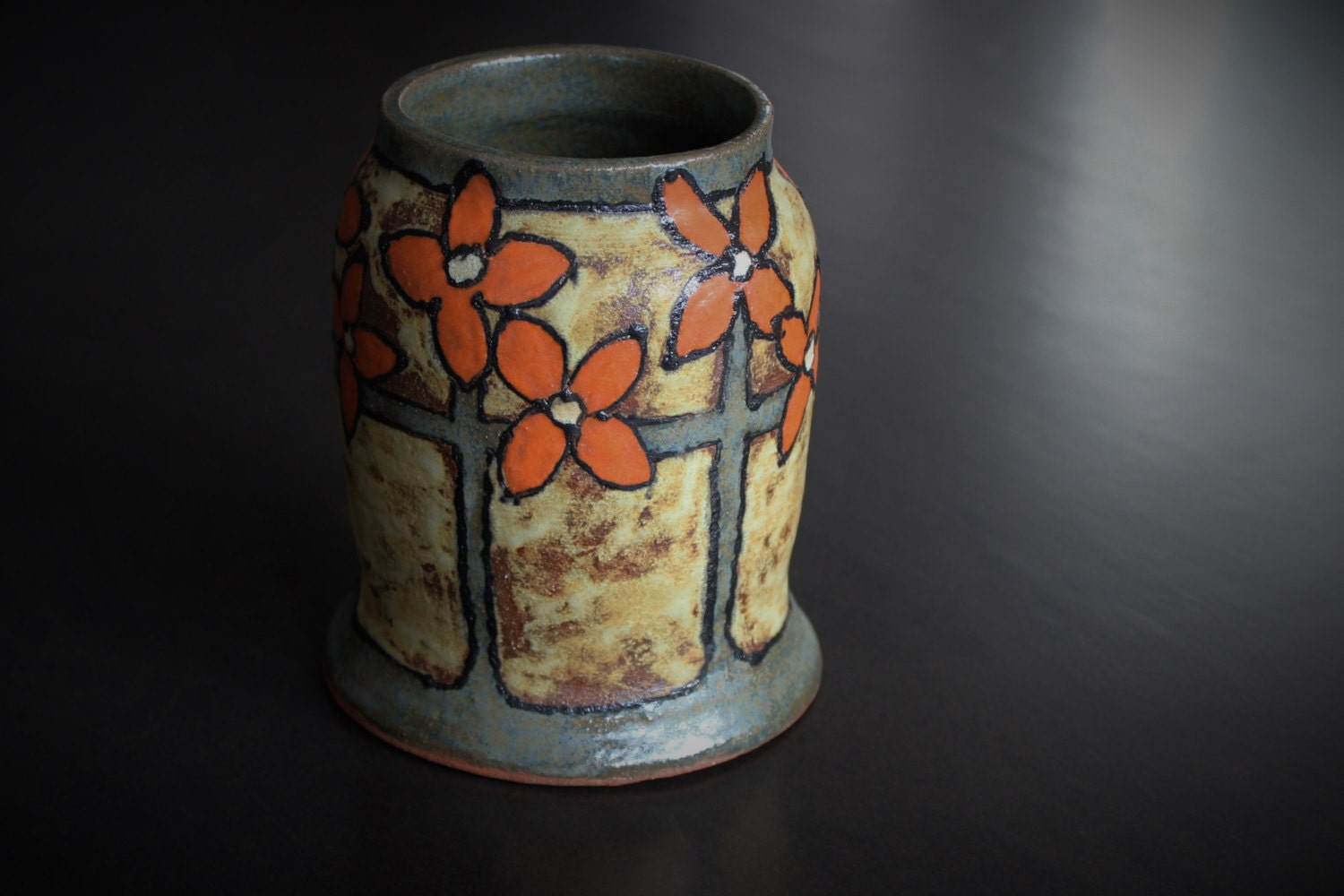 Handmade pottery vase arts and crafts mission style for Arts and crafts pottery
