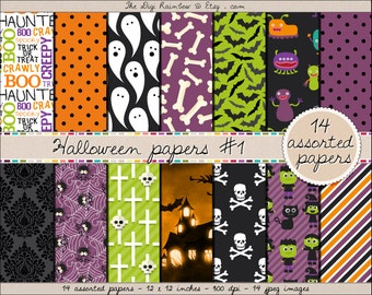 SALE Halloween digital paper Halloween clipart Halloween printable ghosts monsters bats spiders bones clip art green orange purple black