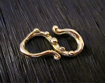 Gold Bronze Dotted Artisan S Hook Clasp Connector and Link (one) (N)