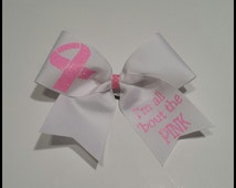 I'm all 'bout that pink Breast cancer Cheer Bow
