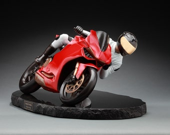 Living On The Edge - Bronze Motorcycle Sculpture