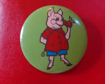 Soviet Little Pig with Apple Pin from Cold War Era (1970s USSR)