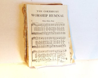Vintage Music Pages Hymnal Craft Scrapbooking Paper Collage Lot of Twenty Five Pages