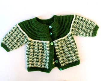 Hand Knit Baby Sweater - Green - Hand Knit - Vintage Baby - Winter - Kids Clothing