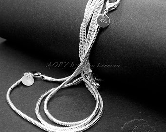 """1 pcs 17"""" Silver Filled 1.8mm Unseamed Round Snake Chain/Necklace, RICH and Beautiful Chain with Lobster Clasp and Stamp 925, High Quality"""