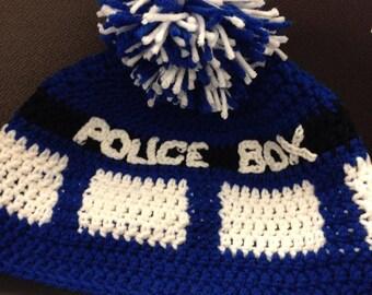 Police Box Beanie (Tardis Style)
