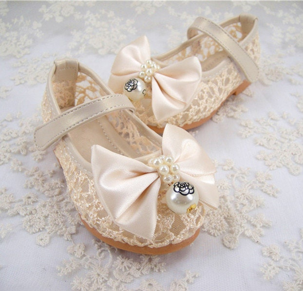Flower Girl Shoes Pearl Wedding Shoes Pearl Lace By LaceNbling