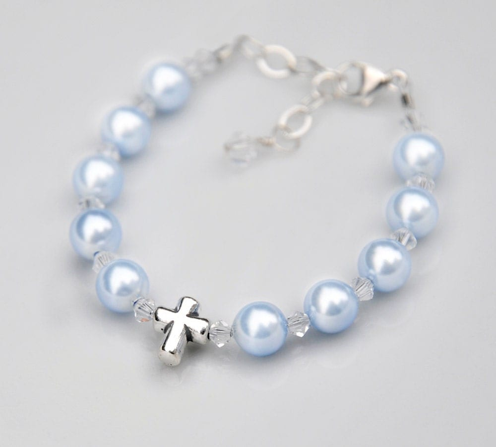 baptism bracelet gift for baby boy sterling by rosariesoflove