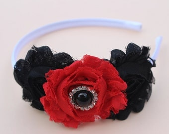 red headbands black and red headband toddler headband flower Girl headband white plastic headband red hair accessory kids Christmas