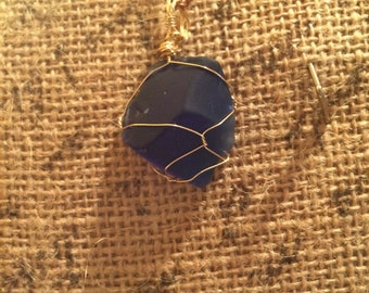 Beautiful Wire Wrapped Royal Blue Seaglass Pendant Necklace