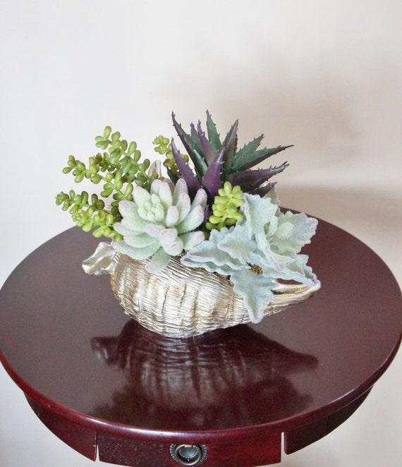 Flower Arrangement Succulents Sea Shell Arrangement