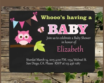 Baby Shower Invitation, Printable Chalkboard Pink Owl Invite for Baby Shower Girl, Personalized Chalkboard Shower Invitation