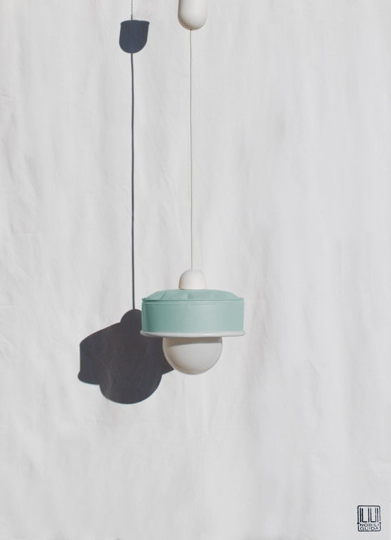 Hanging / pendant / ceiling lamp, mint color ... eco friendly & handmade : recycled from  coffee can !