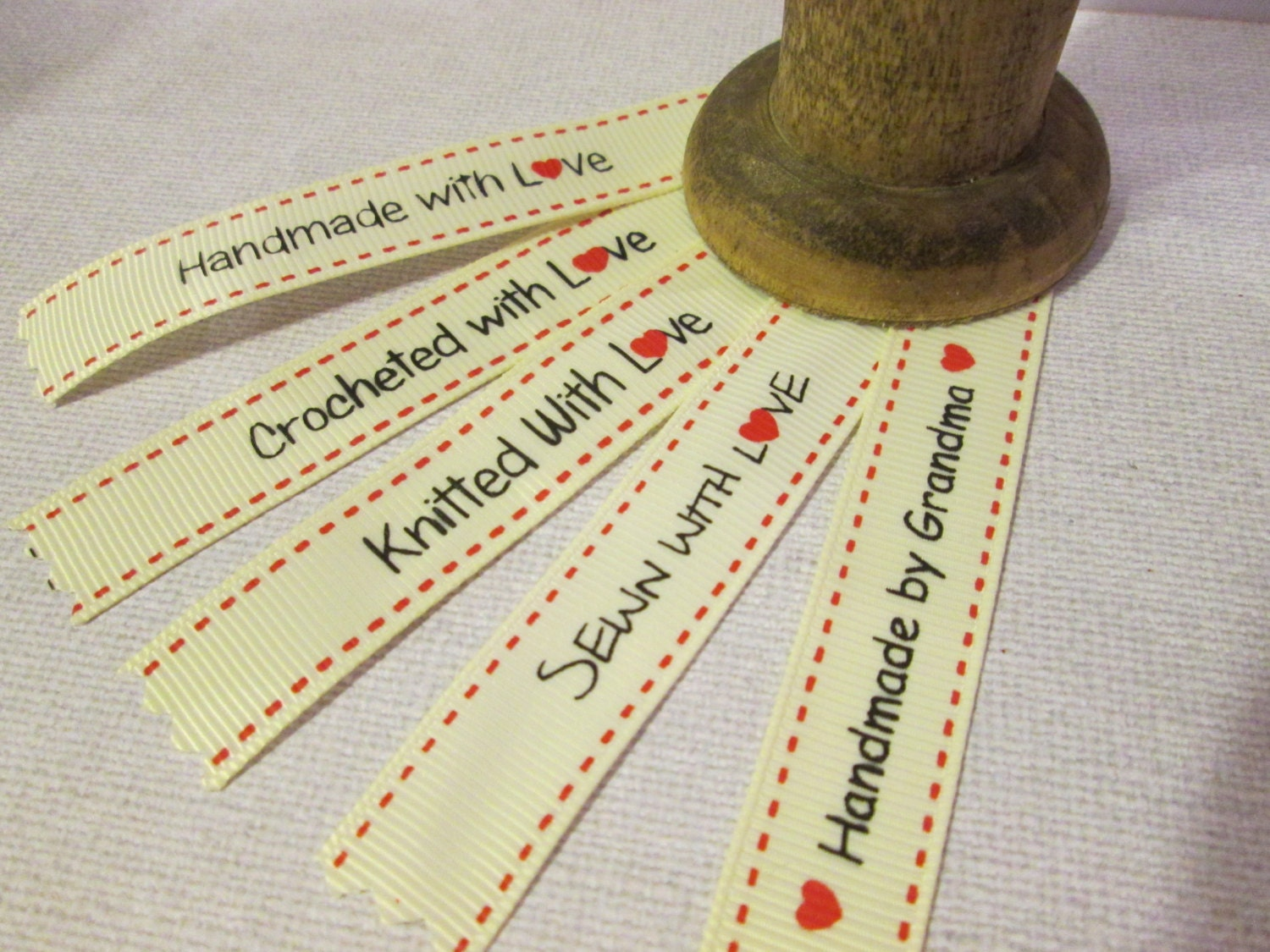 20 sewing labels handmade crocheted knitted sewn with love or for Hand knit with love labels