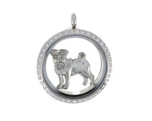 Pug charm in antique silver plated pewter for large 30 mm Charm My Story Lockets.  Also fits Origami Owl lockets and all major brands.