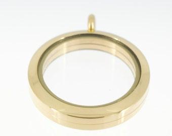 Memory locket in gold stainless steel 30 mm