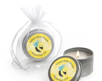 Honey Bee Candle Tin - Baby Shower, Birthday or Grandma-To-BEE Party Favors - 12 Count