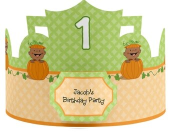 8 Custom Little Pumpkin African American Party Hats - Birthday Party Hats - Party Supplies - 8 Count