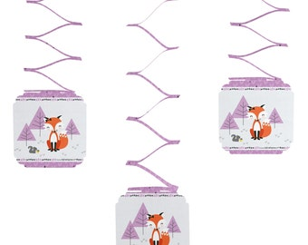 Set of 6 Miss Foxy Fox Hanging Decorations for Baby Showers and Birthday Parties