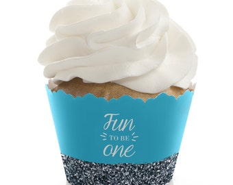 Fun to be One - 1st Birthday Boy Cupcake Wrappers - First Birthday Party Cupcake Supplies - Set of 12 Blue and Silver Cupcake Liners