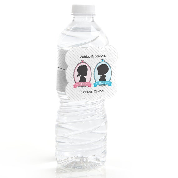 12 Custom Water Bottle Labels Gender Reveal By