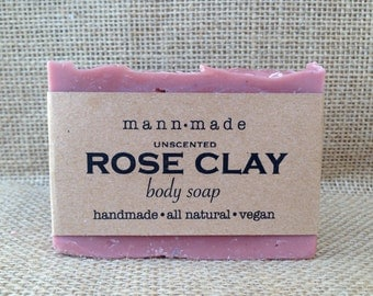Rose Clay Soap, Unscented, Vegan, All Natural