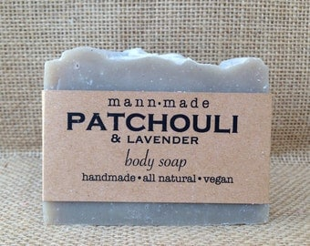Patchouli Soap, Vegan, All Natural, made with Lavender and Natural Brazilian Clay